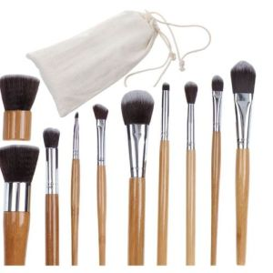 MakeUp Brush Travel Set Natural Bamboo Handles Soft Bristles Starter Kit