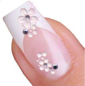 White Flower Rhinestone Adhesive Nail Stickers Decals Art