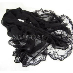 Women Lady Chiffon Lace Scarf Soft Shawl Neck Warm Wrap Stole Pashmina Black New