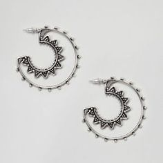 Asos Design Cut Out Engraved Hoop