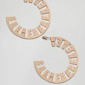 Asos Design Cut Out Monogram Hoop