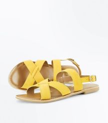 New Look - mustard-suede-cross-strap-sandals