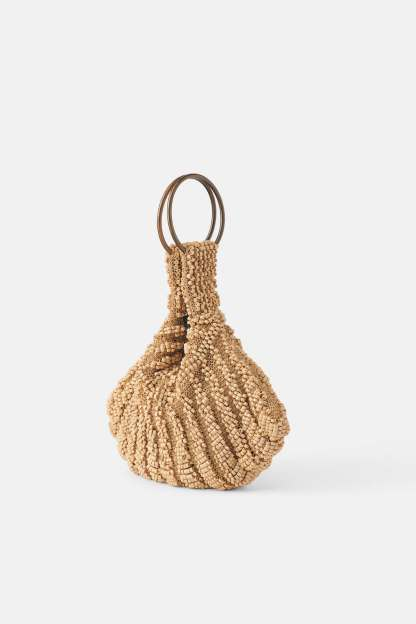 BEADED MINI BUCKET BAG DETAILS ZARA
