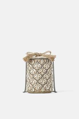 Ecru Straw Crossbody Bag