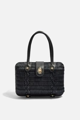 FLUX Black Wicker Straw Grab Bag Courtesy Topshop