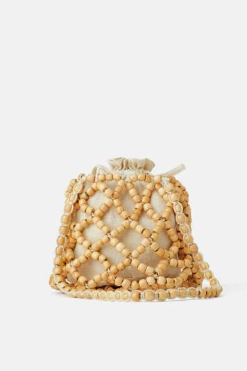 WOODEN BEADED BUCKET BAG DETAILS ZARA